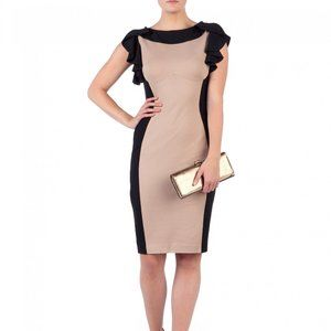 Ted Baker Moxy Dress Black Tan Contrast XS 1